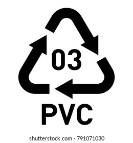 Plastic recycling vector polyvinyl chloride sign.