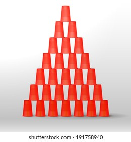 Plastic red cups pyramid