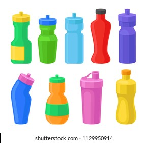 Plastic reusable water bottles set, coorful drink bottles for fitness, protein shakers vector Illustrations on a white background