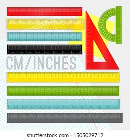 Plastic ruler set. Yellow, green and red school cartoon rulers, vector measuring lines and triangle in cm and inch, measurement instrumentation tools