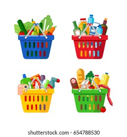 Plastic shopping baskets. Shopping basket with fresh food, drink and household cleaning products. Vector flat illustration set
