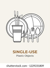 Plastic spoon, fork, knife, stirrer, straws, plates, cup. Single-use white plastic cutlery vector illustration set. Food plastic cutlery flat logo for ecological poster, pollution environment concept.