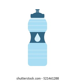 Plastic sport bottle with water. Small bottle of water. With drop on label. Vector illustration