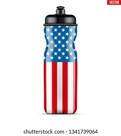 Plastic Sport Nutrition Drink Bottle with USA Flag. For Whey Protein and Gainer Supplements. Fitness and Workout sports. Vector Illustration isolated on white background