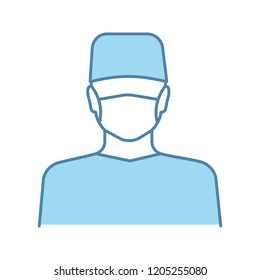 Plastic surgeon color icon. Doctor, therapist, general practitioner. Medical worker. Dentist. Isolated vector illustration