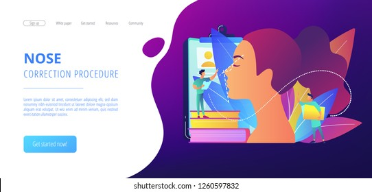 Plastic surgeon correcting the form of the woman nose for rhinoplasty. Rhinoplasty, nose correction procedure, surgical rhinoplasty concept. Website vibrant violet landing web page template.