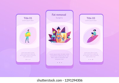 Plastic surgeon with a suction tube doing liposuction of woman marked body parts. Liposuction, lipo procedure, fat removal surgery concept. Mobile UI UX GUI template, app interface wireframe