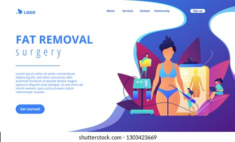 Plastic surgeon with a suction tube doing liposuction of woman marked body parts. Liposuction, lipo procedure, fat removal surgery concept. Website vibrant violet landing web page template.