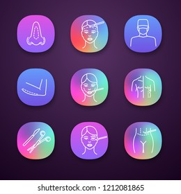 Plastic surgery app icons set. Rhinoplasty, facelift, surgeon, arm lift, cheek surgery, coolsculpting, scalpel, clamp, tummy tuck plastic, blepharoplasty. UI/UX interface. Vector isolated illustration