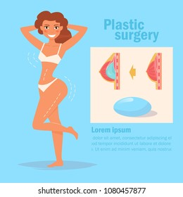 Plastic surgery. Breast  Vector. Cartoon. Isolated art