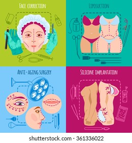 Plastic surgery design concept set with face and body correction icons isolated vector illustration