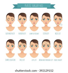 Plastic surgery face and clinic with lifting plasty sketch women icons set vector illustration for your design
