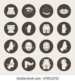 Plastic surgery icon set