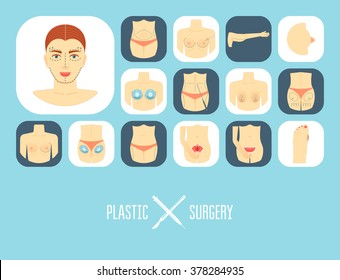 Plastic surgery icon set. Plastic surgery banner, background, poster, concept. Flat design. Vector illustration