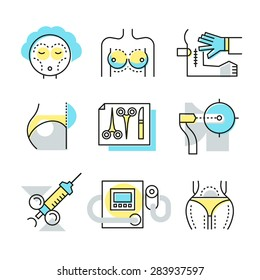 Plastic surgery icons, medical ways to make body attractive, repairing damaged skin, reconstructing facial features, body correction. Modern style illustration symbol concepts. Linear style design
