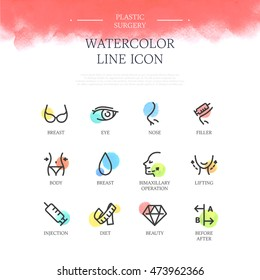 Plastic surgery line icon set
