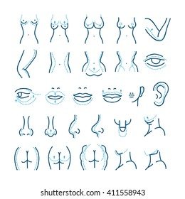 Plastic surgery line icons set. Care body cosmetic, beauty. Vector illustration