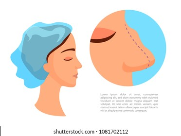 Plastic surgery - rhinoplasty. Reducing the nose. Girl with a big nose.