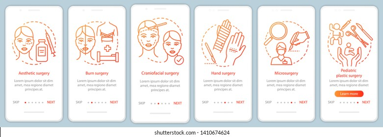 Plastic surgery sub-specialties onboarding mobile app page screen vector template. Aesthetic surgery. Walkthrough website steps with linear illustrations. UX, UI, GUI smartphone interface concept