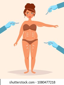 Plastic surgery Vector. Cartoon. Isolated art on white background. Flat