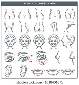 Plastic surgery vector line icons for woman body and face cosmetic operation
