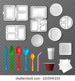 Plastic tableware vector picnic disposable cutlery spoon fork plate takeaway food containers and drinks in cup illustration set of empty kitchenware or dinnerware isolated on transparent background