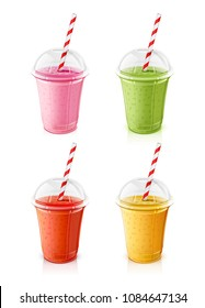 Plastic transparent cups for smoothie with striped pipe. Fresh mint, strawberry, tomato, orange smoothies. Mug of fruity organic shake. Fruit cocktail. Vegetarian Healthy food. Vector illustration.