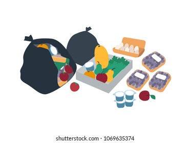 Plastic trash bags, boxes and packages full of discarded food for freegans - fruits, vegetables, eggs, diary products. Freeganism and dumpster diving. Flat cartoon colorful vector illustration.