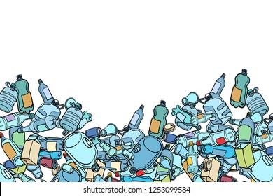 plastic trash. Ecology and pollution. Pop art retro vector illustration kitsch vintage