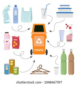 Plastic trash on white background. Ecology and recycle concept. Vector Illustration.