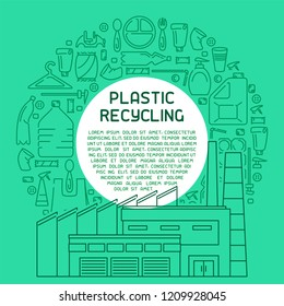 Plastic trash recycling information banner. Line style vector illustration. There is place for your text