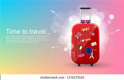 Plastic travel bag with different travel souvenirs. Time to travel. Traveling banner template. Vector Illustration.