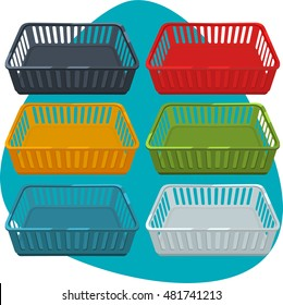 Plastic tray. Web trays in different colors. Black, red, yellow, green, blue, white tray. Isolated. Set.