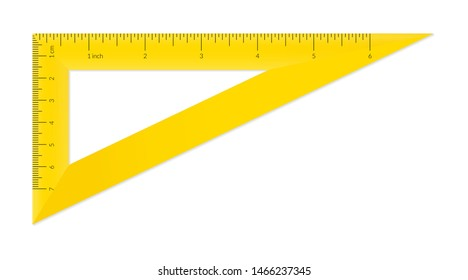 Plastic triangle with metric and imperial units ruler scale