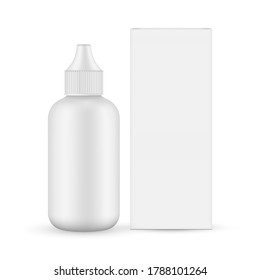 Plastic unicorn dropper bottle with cardboard box mockup, front view, isolated on white background. Vector illustration