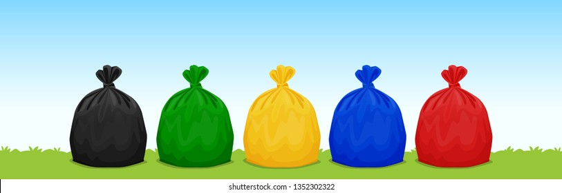 plastic waste bags black, green, yellow, blue and red on the grass and sky background, set of colored garbage waste bags plastic, 3r, waste plastic bags isolated and copy space for banner advertising