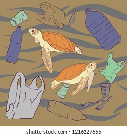 Plastic waste. Ecological problem. Set of trash icons. Environmental pollution. Plastic bags, plastic cups, bottles. Ocean pollution with plastic. Turtles and fish surrounded by garbage.