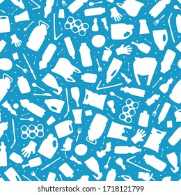Plastic waste, ocean pollution seamless pattern vector illustration. Eco problem water pollution trash contour symbol seamless background. Earth day wallpaiper with single use plastic garbage icons