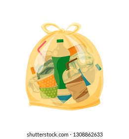 plastic waste packed in the transparent plastic bags for waste separation isolated white square background, Illustration plastic bin bags for waste, clip art plastic bag transparent flat for graphic