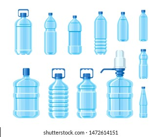 Plastic water bottle blue color set containers of different capacities large small tare. Healthy agua bottles clean water for drinking. Template bottles for advertisement delivery water service vector