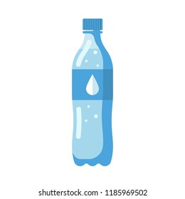 Plastic water bottle. Healthy agua. Plastic container for natural water. Cool mineral summer drink. Vector illustration flat design. Isolated on white background.