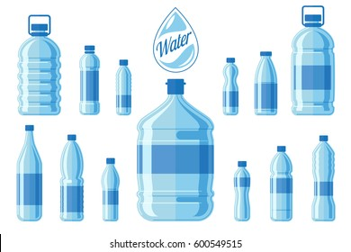Plastic water bottle set isolated on white background. Healthy agua bottles vector illustration. Clean drink in plastic container