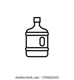 Plastic water bottle. Volume five gallons. Clean spring or purified water. Plastic bottle outline icon. Plastic rubbish. Vector illustration line design style for web, mobile and infographics.