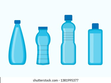 Plastic water bottles collection in blue color isolated on white. Vector poster in flat design of four tall containers for liquids in various shape and size.
