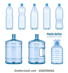 Plastic water bottles realistic set of large containers for cooler and small tare for retail sale isolated vector illustration