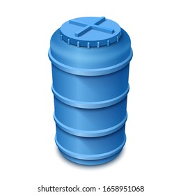Plastic water tank. Сistern for storing and reserving water. Vector illustration on a white background.