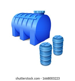 Plastic water tanks. Сistern for storing and reserving water. Vector illustration on a white background.