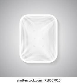 Plastic white container isolated on white with wrinkled surface cling wrap with empty space inside for your food goods design and branding. Fresh and neat meal presentation with realistic film.