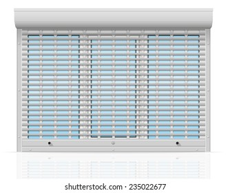 plastic window behind metal perforated rolling shutters vector illustration isolated on white background