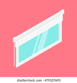 Plastic window with blinds. Isometric vector illustration. Isolated icon.